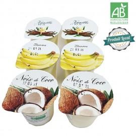 2 yaourts noix de cooco, 2 yaourts vanille, 2 yaourts banane