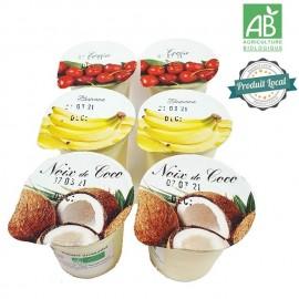 2 Yaourts cerise, 2 yaourts banane, 2 yaourts noix de coco